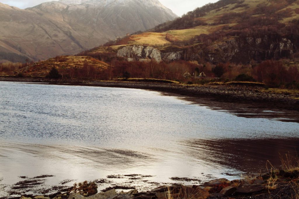 Shores of Loch Leven in Scotland